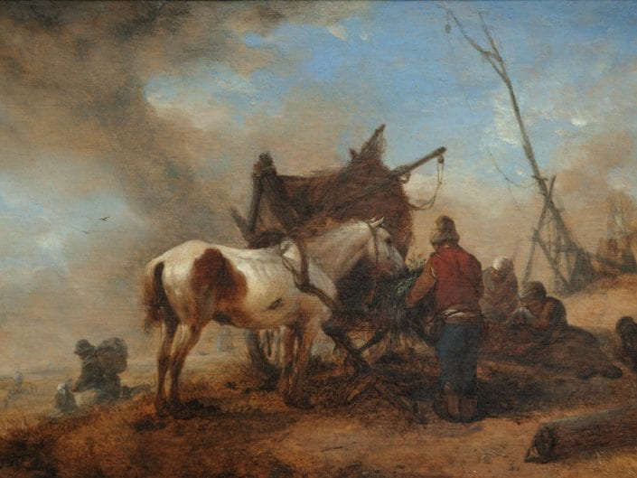 A peasant attending a horse in a dune landscape