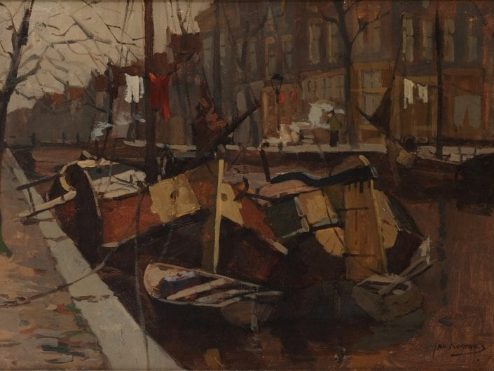Boats in a canal, Amsterdam